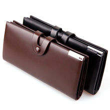Load image into Gallery viewer, Men Faux Leather ID Card Holder Button Closure Long Bifold Wallet Business Purse