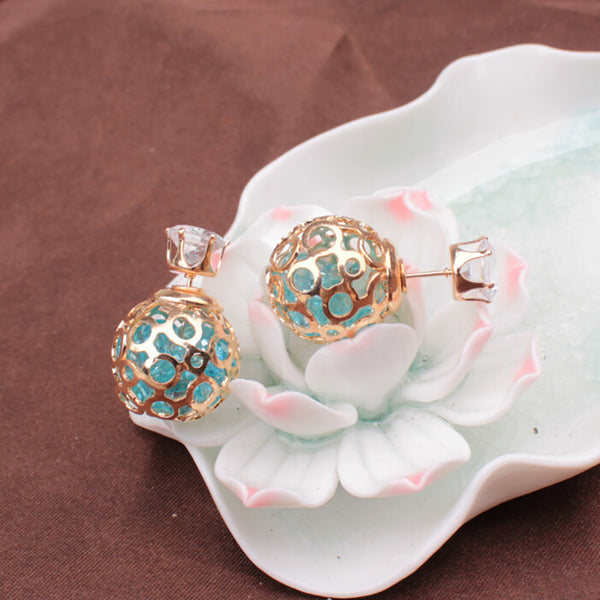 Women Fashion Hollow Ball Ear Jackets Stud Earrings Double Side Piercing Jewelry
