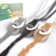 Load image into Gallery viewer, Women Rhinestone Metal Pendant Chain Statement Jewelry Long Tassel Sweater Bib Necklace
