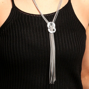 Women Rhinestone Metal Pendant Chain Statement Jewelry Long Tassel Sweater Bib Necklace
