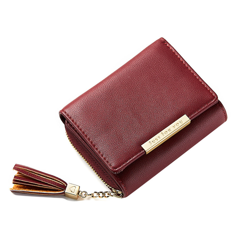 Elegant Solid Color Tassels Faux Leather Women Short Wallet Card Holder Purse