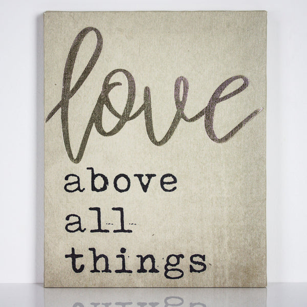 "Crystal Art ""Love Above All Things"" Wrapped Canvas Print Wall Art Decor"