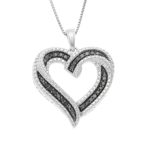 JewelExclusive Sterling Silver 1/4cttw Natural Round-Cut Black Diamond Heart Pendant-Necklac with an 18 Inch Chain