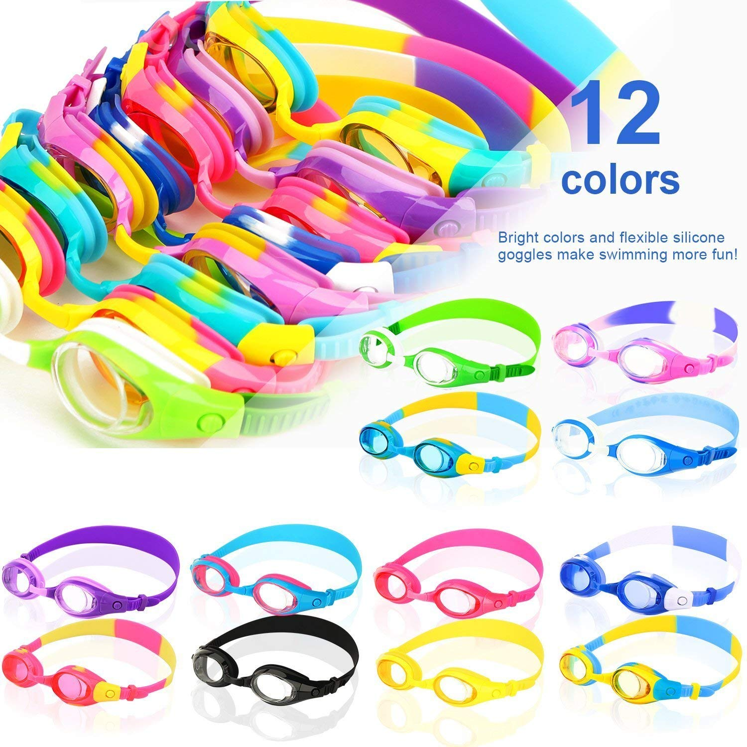 COOLOO Kids Swim Goggles, Pack of 2,