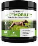 PureMobility Glucosamine for Dogs - Premium Dog Joint Supplement Support with Glucosamine, Green-Lipped Mussel, Collagen & Turmeric - Advanced Hip & Joint Chews & Pet Joint Pain Relief 60 ct