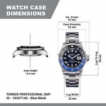 Load image into Gallery viewer, Davosa Swiss Automatic Watch for Men - Ternos Illuminated Analog Display Watch with GMT Dual Time, Stylish Wristband & Ceramic Bezel (16157145)