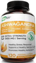 Load image into Gallery viewer, Organic Ashwagandha Capsules 1300MG with Black Pepper, 120 Veggie Capsules -