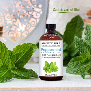 Majestic Pure Peppermint Essential Oil, Pure and Natural, Therapeutic Grade Peppermint Oil, 4 fl. oz.