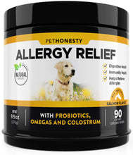Load image into Gallery viewer, PetHonesty Allergy Relief Immunity Supplement for Dogs - Omega 3 Salmon Fish Oil, Colostrum, Digestive Prebiotics & Probiotics - for Seasonal Allergies + Anti Itch, Skin Hot Spots Soft Chews
