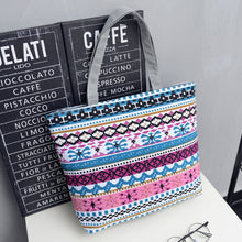 Load image into Gallery viewer, Women Canvas Stripe Tote Bag Shopping Travel Large Capacity Shoulder Handbag