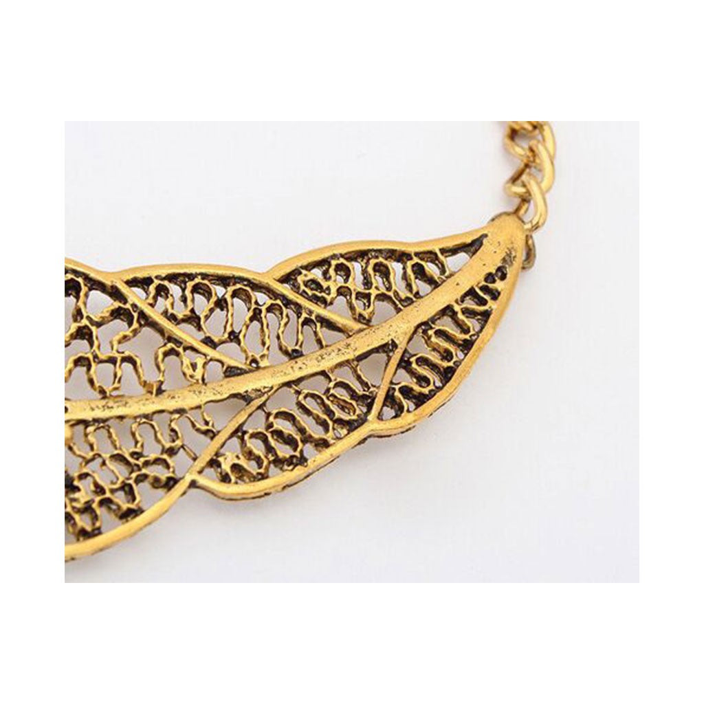 Necklace Metal Exaggerated Openwork Leaves Necklace Jewelry Gift For Women