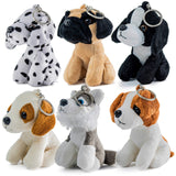 Prextex Plush Puppies - Set of 6 Realistic Looking 5-Inch Cute and Cozy Stuffed Animals Little Plush Dogs with Keychain