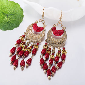 European and American fashion exaggerated long fringed resin earrings retro FSE048