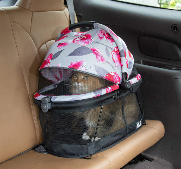 Pet Gear PG1040NZFL View 360 Pet Carrier & Car Seat for Small Dogs & Cats with Mesh Ventilation for Easy Viewing, Floral