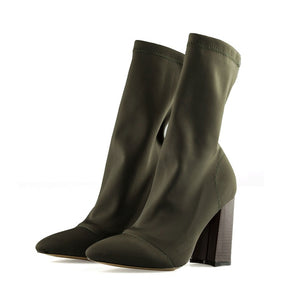 Pointed Toe Yarn Elastic Ankle Boots Thick Heel