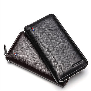 BISON DENIM 100% Cow Leather Clutch Wallets for Men