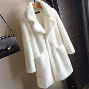 Women Mink Faux Fur Coat Solid Female Turn Down Collar Winter Warm Fake Fur Lady Coat Casual Jacket