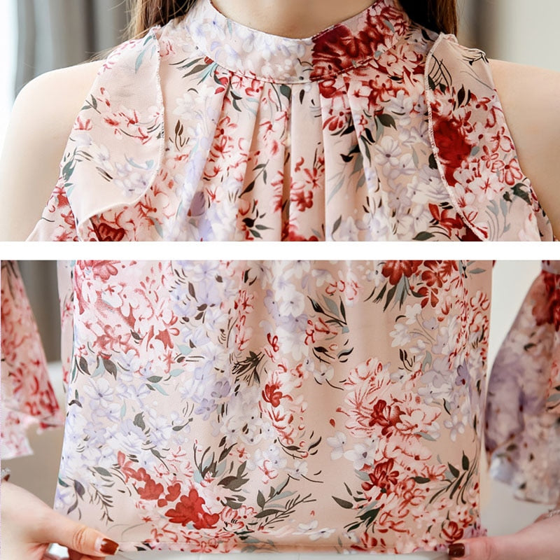 ladies tops floral chiffon blouse for women