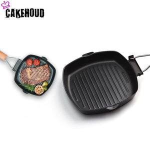 CAKEHOUD 20 28cm Non stick Thickened Steak Frying Pan Foldable Striped Square Baking Pan Grilled
