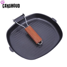 Load image into Gallery viewer, CAKEHOUD 20 28cm Non stick Thickened Steak Frying Pan Foldable Striped Square Baking Pan Grilled