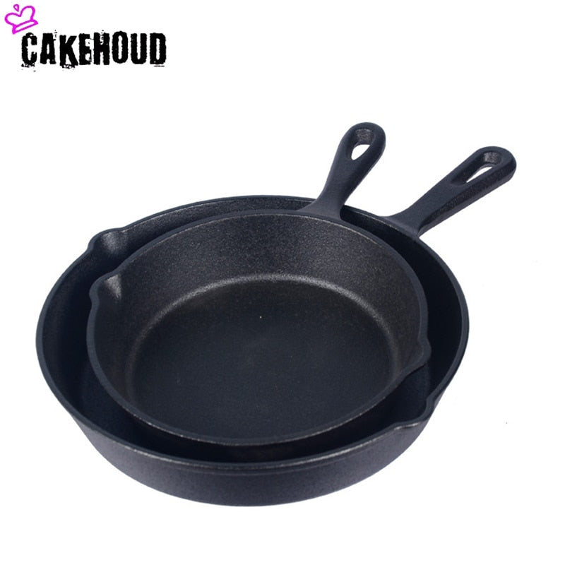 CAKEHOUD Kitchen Cast Iron Frying Pan Uncoated Non stick Pan Can Be Used For Gas