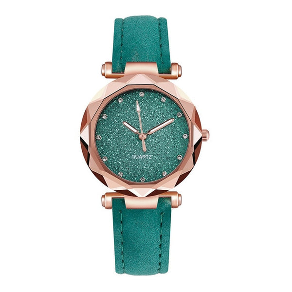 Casual Women Romantic Starry Sky Wrist Watch Leather Rhinestone