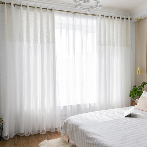 Chicity white Blackout Curtains For Living room Double layer daisy elegant white Lace curtain