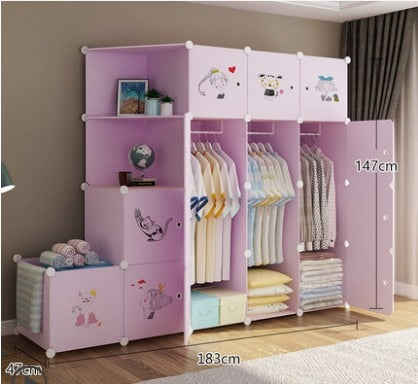 Simple wardrobe cloth assembly home dormitory fabric closet plastic folding children clothes storage