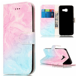 Fashion Marble PU Leather Flip Phone Case For Samsung Galaxy
