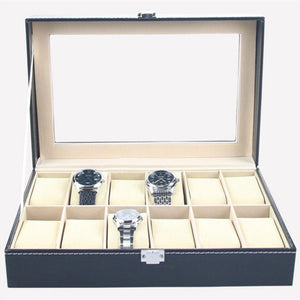 Faux Leather Watch Box Display Case Organizer 12 Slots
