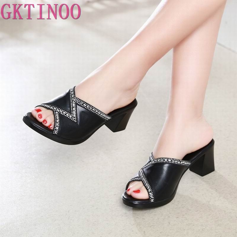 Open Toe Thick Crystal Plus Size Roman Shoes