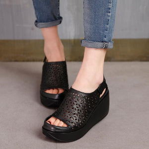 Women Summer Shoes Retro Hollow Out 7CM High Heels Wedge Set