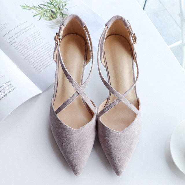 Women Pointed Toe Pumps Hasp High Heels 5cm