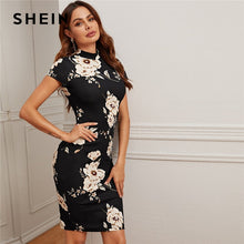 Load image into Gallery viewer, SHEIN Black Mock-Neck Floral Print Bodycon Dress Women 2020 Spring Stand Collar Short Sleeve Elegant Fitted Midi Dresses
