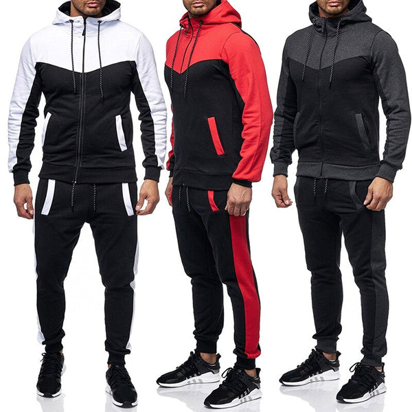 New Fashion Men Set Zipper Hoodies+Pants Sets Male Tracksuit Men's Casual Slim Fit Sportswear Male Brand Sweat Shirts Clothing