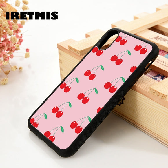 Iretmis 5 5S SE 6 6S Soft TPU Silicone Rubber phone case cover for iPhone 7 8 plus X Xs 11 Pro Max XR Pink Cherries Cherry