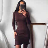 WannaThis Long Sleeve Ruffles Slim Mini Dresses Elastic Solid Knitted Sexy Bodycon Autumn Winter New  Women Basic Party Dresses