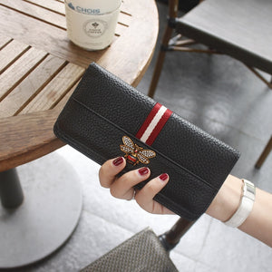 Brand Genuine Leather Women Purse Fashion Cow Leather Zipper Long Women Wallet Clutch High Quality Card Pocket Standard Wallet