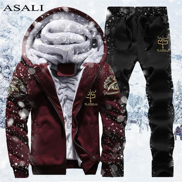 Winter Men's Set Fleece Hoodie Pant Thick Warm Tracksuit Sportswear Hooded Track Suits Male Sweatsuit For Man Tracksuit M-4XL