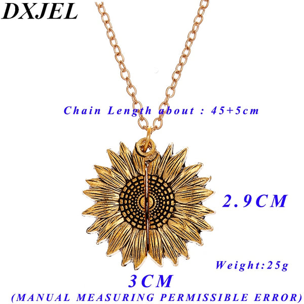 Premium Double Sided Customized Youre My Sunshine Engraved Open Locket Sunflower Pendant Necklace for Women Gift Dropshipping