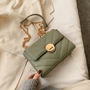 Chain PU Soft Leather Solid Color Crossbody Bags For Women