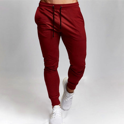 2020 New Mens Sports and Leisure Trousers Fit Length Solid Color Versatile Running Drawstring Training Fitness Pants