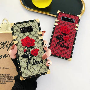 For Samsung Galaxy S10 S9 S8 Plus Note 9 A50 A70 Square Back Cover 3D Embroidery Rose Flower Phone Case Luxury Metal Rivet Frame