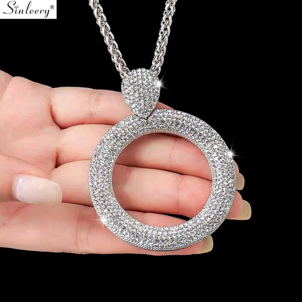 SINLEERY Dazzling Full Cubic Zirconia Hollow Round Pendant Long Necklace for Women Statement Maxi Jewelry Accessories MY102 SSI