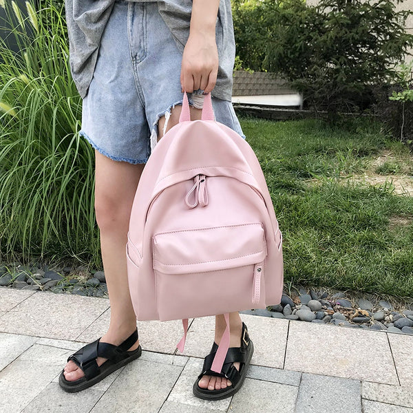 Quality High Capacity Backpacks For Women 2019 Solid Color Pu Leather Back Pack Teens Girls School Bags Back To School Backpack