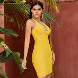 Adyce New Summer Spaghetti Strap Bandage Club Dress Sexy Sleeveless Yellow Bodycon Beading Celebrity Evening Party Dress Vestido