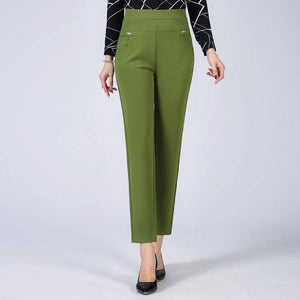 Women Casual Pants 2019 New Summer Autumn High Waist Elasticity Straight Pants Slim Trousers Female Khaki Black Plus Size XL-5XL