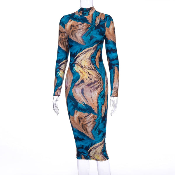 Hugcitar 2019 long sleeve print bodycon sexy  dress autumn winter women party elegant slim Christmas club outfits