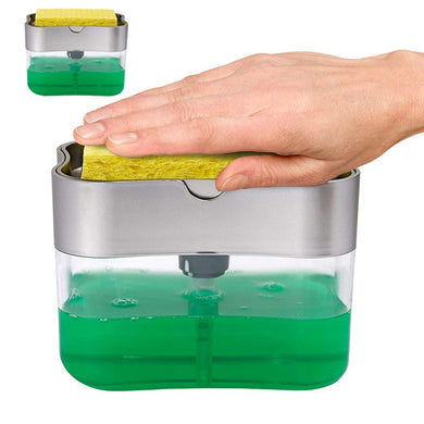 Soap Dispenser Soap Pump Sponge Caddy New Creative Kitchen 2-in-1 Manual Press Liquid Soap Dispenser With Washing Sponge
