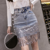 Summer Korean Sexy Women Denim Mini Skirts High Waist